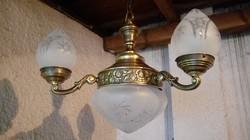 """Dekoratív antik 3ágú réz csillár lámpa eladó """"rózsás"""""""