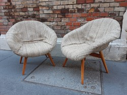 Extra mid century design fotel pár Miroslav Navratil: Bucket lounge chair