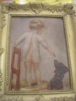 N21 Antik olaj festmény az én cumim a tied is vedd tudomásul vagy vedd el