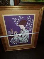 """Barabás szignós linó, """"Lány madárral"""", vastag festékréteggel! Mintha festmény lenne!"""