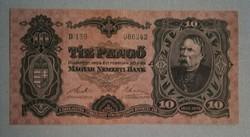 Ritka, 1929es 10 Pengő. Képeken látható feljavított állapotban. Ennek tudatában licitáljon!