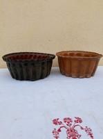 Mázas Cserép kuglóf sütő, népi kerámia forma régisév