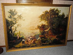 Marko Károly antique 170 cm landscape painting, signed oil painting specialty, gold frame