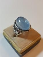 Szuperb 12Cts Modern Akvamarin Ezüst Állítható Méretű Gyűrű Szép Tiszta Kő