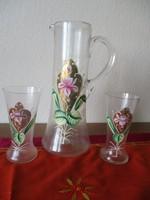 Festett fújt üveg kancsó, poharakkal