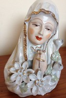 Antik lüszteres Szűz Mária porcelán szobor - Karácsony -GYÖNYÖRŰ élőben!