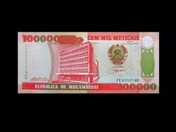 UNC - 100 000 METICAIS- MOZAMBIK 1993 (Ritka!)