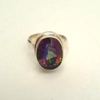Ezüst gyűrű szivárvány fluorittal 925-ös