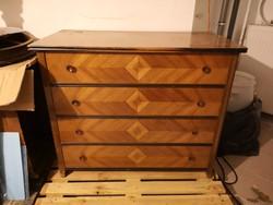 Antik neobarokk ágyneműtartó, komód imitálással (szekrény, barna, fa, régi)