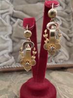 Bieder gyémántos arany fülbevaló pár