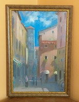 Walter Gábor: Mediterrán városrész - festmény