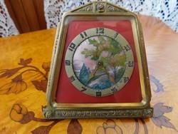 Empire utazó óra, asztali óra, bronz, svájci, 8 napos, eredeti minden alkatrész, működik