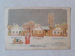 Régi karácsonyi mikulásos képeslap 1956