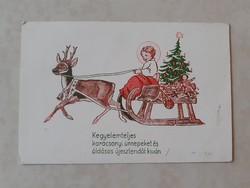 Régi karácsonyi képeslap 1946 szánkós