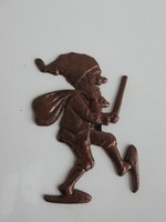 Bronzírozott bányász törpe fali figura