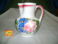 Régi, virágos, két literes gránit kancsó - 21 cm