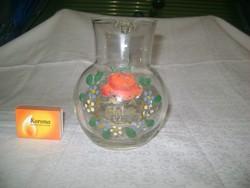 Régi, kézzel festett EMLÉK kancsó - üveg