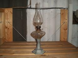 Szecessziós hibátlan antik petróleumlámpa, régi asztali lámpa