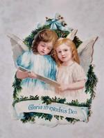 Régi karácsonyi angyal papírmasé dombornyomott papírrégiség angyalok