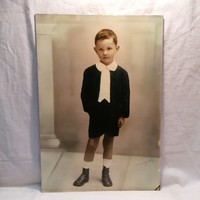 Jelzett Varga nagyméretű műtermi fotó , fiú portré 1937 , 48,5x33,5 cm