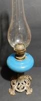 Szecessziós,áttört talpas,Kalcedon üveg tartályos...antik petróleum lámpa