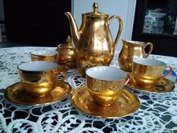 Herendi, Hollóházi gyár festője Koszorúsné, arannyal festett kávés készlet!