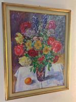 Hatalmas Orosz Gellért festmény extra színvilággal, modern lakásokba, design kedvelőknek