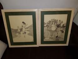Pálffy Judit két nagy grafitrajza, keretben, méret jelezve