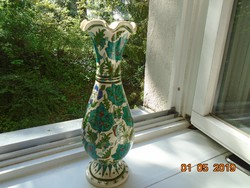 Antik Izniki kézzel festett virágos váza 30 cm