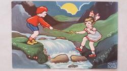 Régi képeslap 1933 gyerekek a patakparton