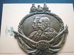 1914-es Ferenc József és Vilmos császár plakett FB mesterjegy