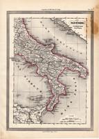 Nápoly térkép 1861, olasz, eredeti, atlasz, Dél - Olaszország, Európa