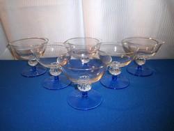 Martinis készlet 6 db üveg kristály kék talpas pohár