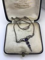 Régi különleges ezüst nyaklánc ametiszt kövekkel