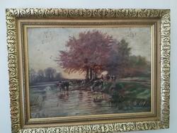 """""""E. Illés A."""" szignóval ellátott festmény"""