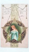 Régi képeslap 1904 csillagos üdvözlőlap