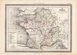 Gallia térkép, kiadva 1861, olasz, eredeti, atlasz, történelmi, ókor, római birodalom, francia, régi