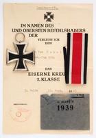 Eisernes Kreuz II. Klasse -  Jelöletlen - Tasakkal, Adományozóval