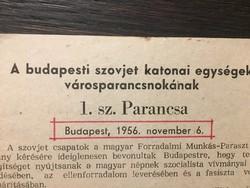 Történelmünk 1956. Bp. szovjet városparancsnokának I. sz. parancsa
