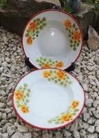 Lampart zománcos, Zománcozott rózsás tányérok, egyben eladók. Paraszti dekoráció