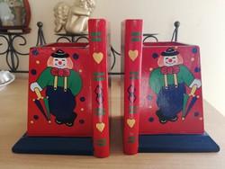 Retro fa bohócos könyvtámasz pár