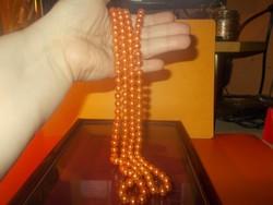 Narancs fényű Extra hosszú Igazgyöngy Nyaklánc 148 cm !