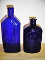 2 db. antik sötétkék patikaaüveg
