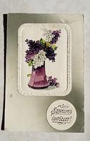 Régi képeslap 1910 medalionos orgonás üdvözlőlap