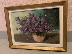 Lila virágos csendélet, 41x31 cm kerettel, olaj-karton