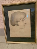Női portré, ceruza, 26x33 kerettel