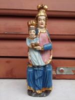 Festett fa Mária szobor viaszpecséttel