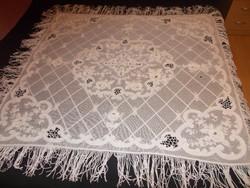 Ritka szépségű antik hófehér  tüll kézimunka  asztalterítő