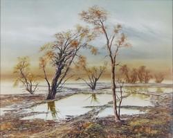 0Y592 Keretezett téli táj nyomat 42 x 52 cm