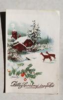 Régi karácsonyi képeslap őzikés havas táj